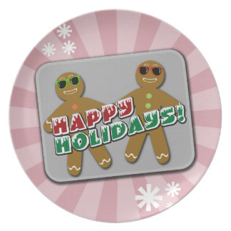 Happy Holidays Cool Gingerbread Man Dinner Plates