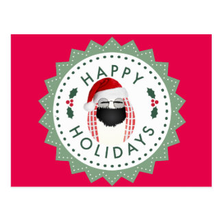 Happy Holidays Cool Mr. Egg Christmas card red