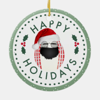 Happy Holidays Cool Mr. Egg Round ornament