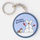 Happy Holidays Corgi Keychain