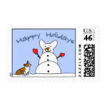 Happy Holidays Corgi Postage Stamps