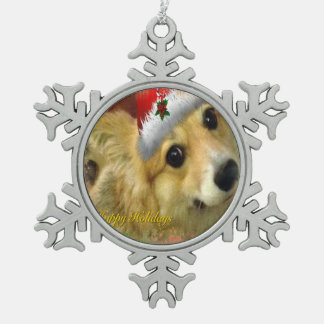 Happy Holidays Corgi Snowflake Pewter Christmas Ornament
