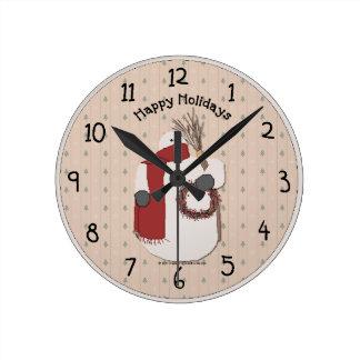 Happy Holidays Country Wall Clock