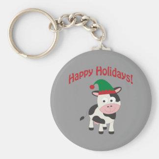 Happy Holidays! Cow Elf Keychain