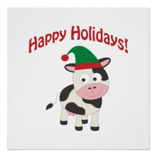 Happy Holidays! Cow Elf Poster