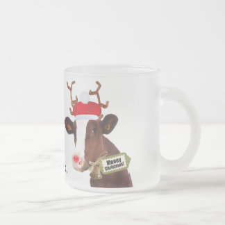 Happy Holidays Cow in Christmas Costume Frosted Glass Coffee Mug