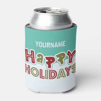Happy Holidays custom drink coolers Can Cooler