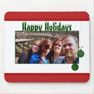 Happy Holidays Custom Family Photo Red Green Mouse Pad