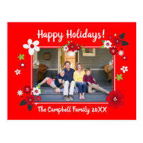 Happy Holidays Custom Name and Photo Postcard