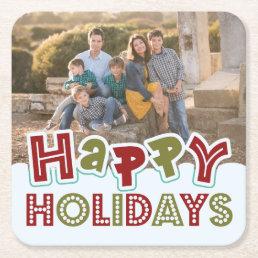Happy Holidays custom photo coasters