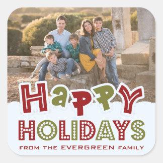 Happy Holidays custom Photo & Name stickers