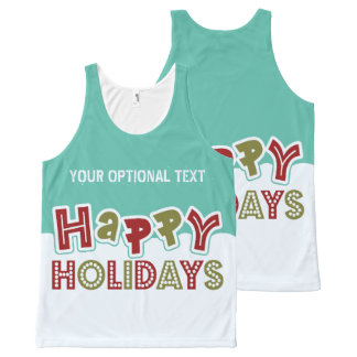 Happy Holidays custom tank top All-Over Print Tank Top
