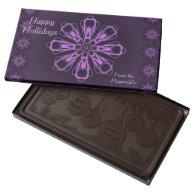 Happy Holidays Customizable Dark Chocolate by Janz 2 Pound Dark Chocolate Bar Box