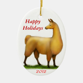 Happy Holidays Customizable Llama Ornament