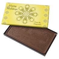 Happy Holidays Customizable Milk Chocolate by Janz 2 Pound Milk Chocolate Bar Box
