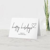Happy Holidays Customized Christmas Card Set Heart