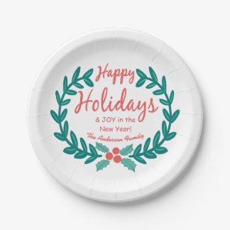 HAPPY HOLIDAYS CUTE CHALK ART HOLLY WREATH 7 INCH PAPER PLATE