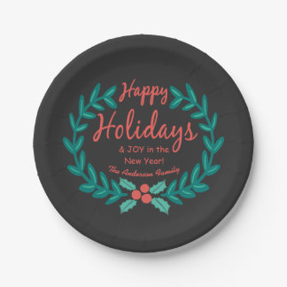HAPPY HOLIDAYS CUTE CHALKBOARD HOLLY WREATH 7 INCH PAPER PLATE