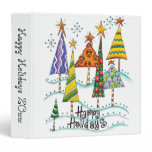Happy Holidays! Cute Christmas Trees with Stars 3 Ring Binder