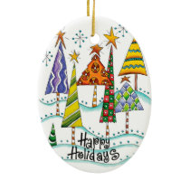Happy Holidays! Cute Christmas Trees with Stars Ceramic Ornament