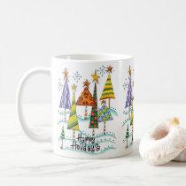 Happy Holidays! Cute Christmas Trees with Stars Coffee Mug