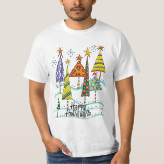 Happy Holidays! Cute Christmas Trees with Stars T-Shirt
