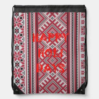 Happy Holidays cute cinch backpack art design idea