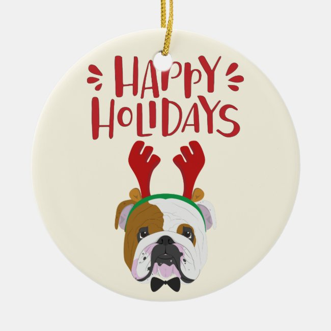 Happy Holidays - Cute English Bulldog Christmas
