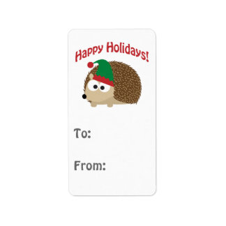 Happy Holidays Cute Hedgehog Christmas Elf Label
