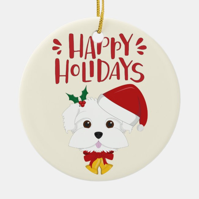 Happy Holidays - Cute Maltese Christmas