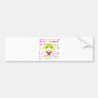 Happy Holidays-Cute Monkey-Morocko Bumper Sticker