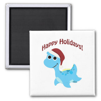Happy Holidays! Cute Nessie 2 Inch Square Magnet