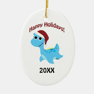 Happy Holidays! Cute Nessie Ceramic Ornament