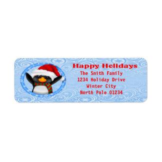 Happy Holidays Cute Penguin Label
