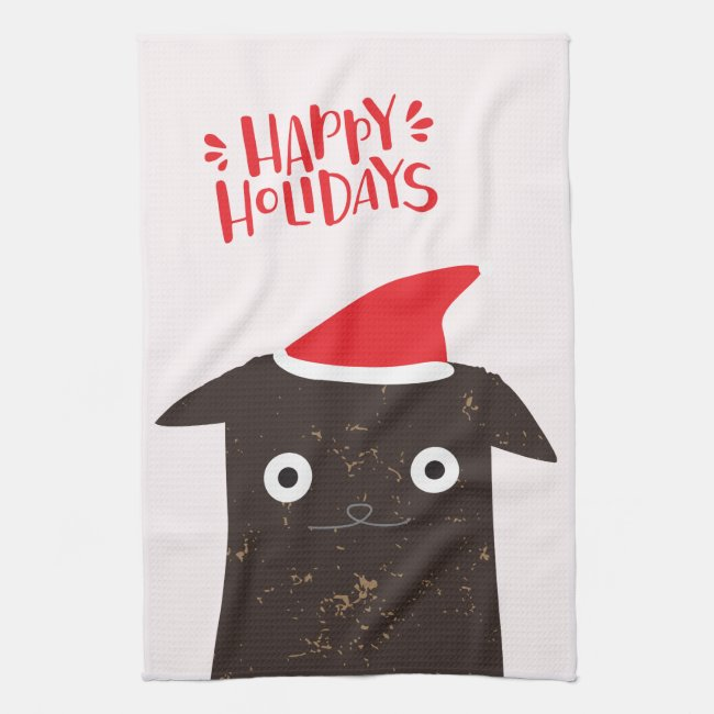 Happy Holidays! Cute Santa Cat Cartoon - Christmas