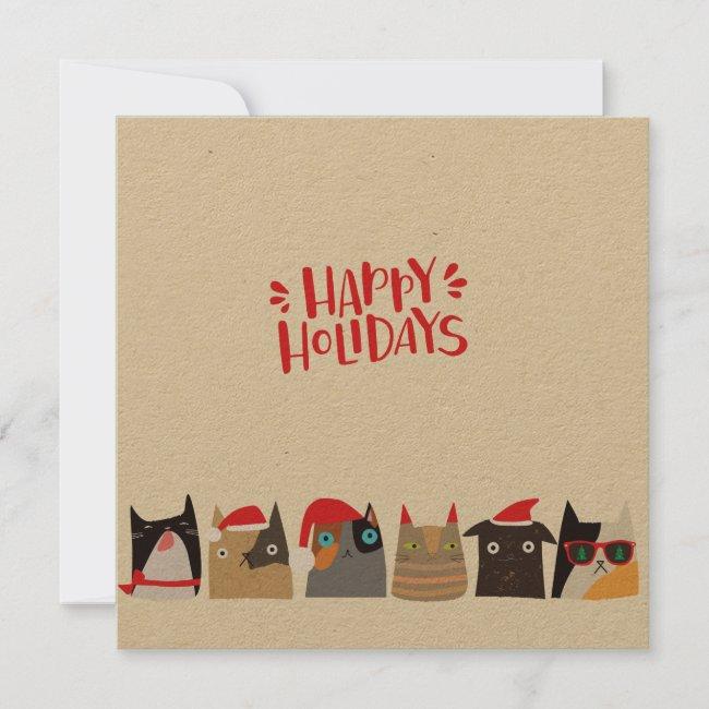 Happy Holidays! Cute Santa Christmas Cats - Kraft