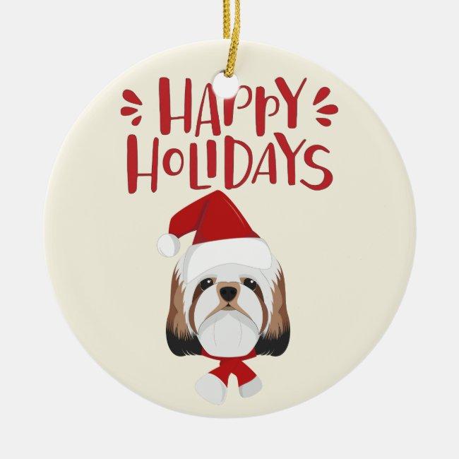 Happy Holidays - Cute Shih tzu Christmas