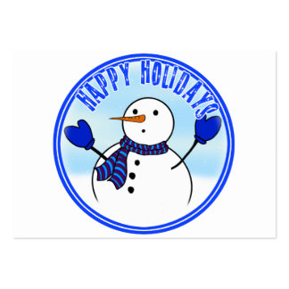 Happy Holidays - Cute Snowman With Blue Mittens Business Cards
