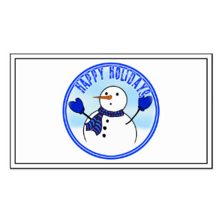 Happy Holidays - Cute Snowman With Blue Mittens Business Card