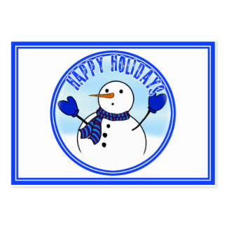 Happy Holidays - Cute Snowman With Blue Mittens Business Card Template