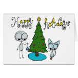 happy holidays cute stick figure and cat card