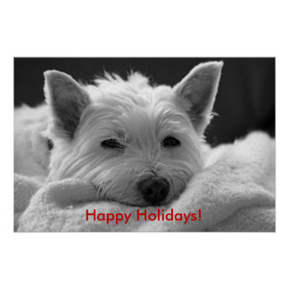 Happy Holidays - Cute Westie Dog Poster
