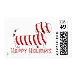 Happy Holidays Dachshund Postage Stamp