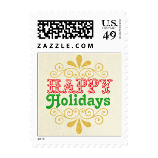 Happy Holidays Damask Typography Postage