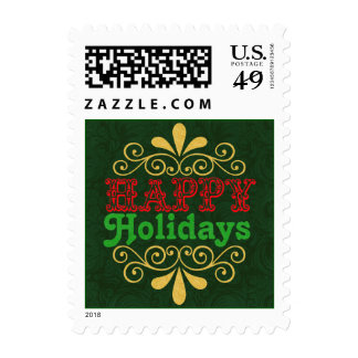 Happy Holidays Damask Typography Postage