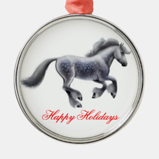 Happy Holidays Dappled Gypsy Cob Horse Ornament