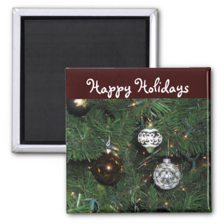 Happy Holidays Decor 2 Inch Square Magnet