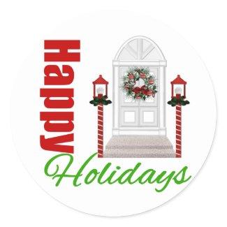 Happy Holidays Decorated Door v3 sticker
