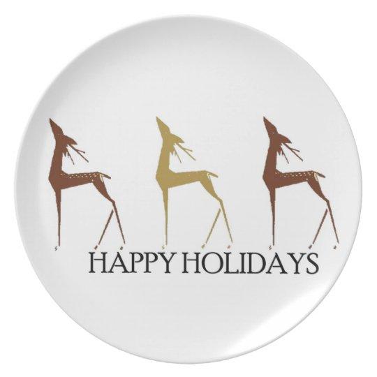 Happy Holidays Deer Plate