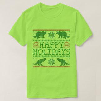 Happy Holidays Dinosaur Ugly Xmas Sweater T-Shirt